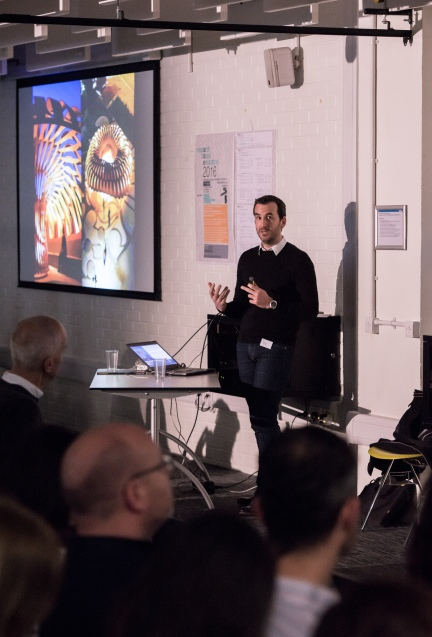 AAE 2016: Keynote speaker Achim Menges talks about Production during AAE, The Research Based Education 2016 international peer reviewed conference. Held at Bartlett School of Architecture. 140, Hampstead Road, London. 08/04/2016.