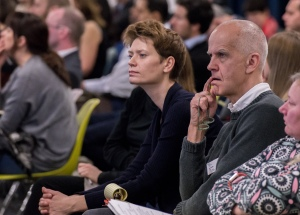 AAE 2016: Audience listen to presentations during AAE, The Research Based Education 2016 international peer reviewed conference. Held at Bartlett School of Architecture. 140, Hampstead Road, London. 08/04/2016.