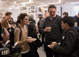 AAE 2016: Coffee break during AAE, The Research Based Education 2016 international peer reviewed conference. Held at Bartlett School of Architecture. 140, Hampstead Road, London. 08/04/2016.
