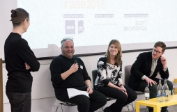 AAE 2016: Hannah Vowles chairs panel discussion with Doug Gittens, Paula Craft-Pegg and Luke Pearson during AAE, The Research Based Education 2016 international peer reviewed conference. Held at Bartlett School of Architecture. 140, Hampstead Road, London. 08/04/2016.