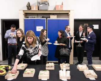 AAE 2016: Lunch in the Bartlett workshop during AAE, The Research Based Education 2016 international peer reviewed conference. Held at Bartlett School of Architecture. 140, Hampstead Road, London. 08/04/2016.