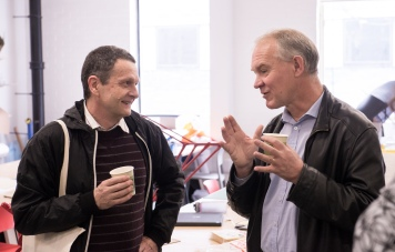 AAE 2016: Etienne Wenger chats with Alan Pann during a break of AAE, The Research Based Education 2016 international peer reviewed conference. Held at Bartlett School of Architecture. 140, Hampstead Road, London. 08/04/2016.