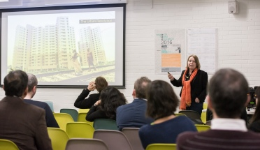 AAE 2016: Mary Jane Rooney speaking about Nurturing the Citizen designer during AAE, The Research Based Education 2016 international peer reviewed conference. Held at Bartlett School of Architecture. 140, Hampstead Road, London. 08/04/2016.