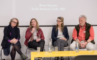 AAE 2016: Murray Fraser chairs the panel discussion with Flora Samuel, Lorraine Farrelly, Sandy Litchfield and Toby Lewis during AAE, The Research Based Education 2016 international peer reviewed conference. Held at Bartlett School of Architecture. 140, Hampstead Road, London. 08/04/2016.